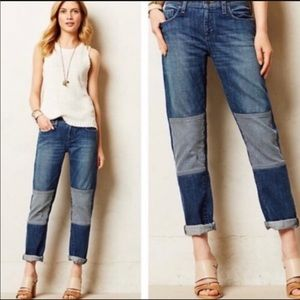 Pilcro Anthropologie Striped Knee Patch Jeans 27